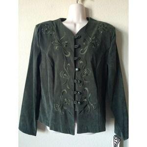 Spago Olive Embroidered Button Up Blazer Jacket